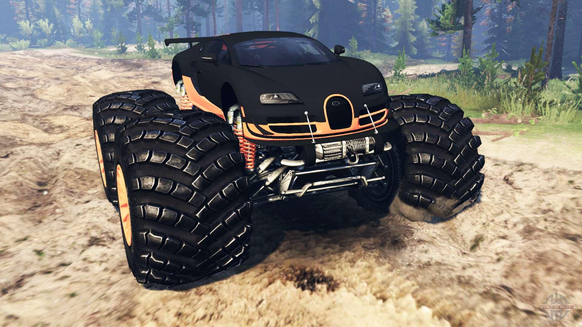 Bugatti Veyron Ss Monster Truck Para Spin Tires
