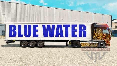 La piel en el Agua Azul de la cortina semi-remol para Euro Truck Simulator 2