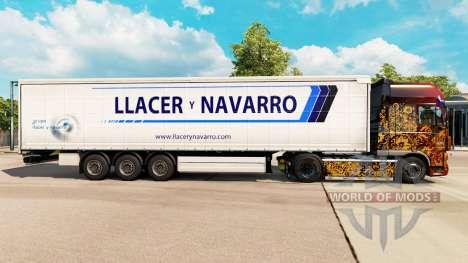 La piel Llacer y Navarro en una cortina semi-rem para Euro Truck Simulator 2