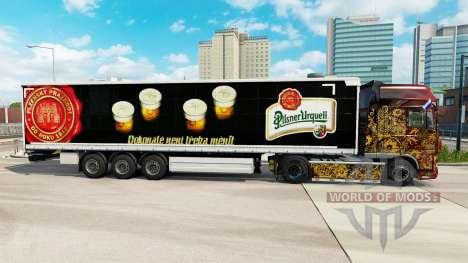 La piel de la Pilsner Urquell cortina semi-remol para Euro Truck Simulator 2