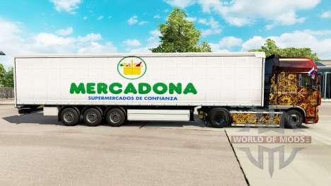La piel de Mercadona en una cortina semi-remolqu para Euro Truck Simulator 2