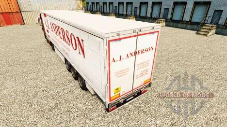 La piel de A. J. Anderson en una cortina semi-re para Euro Truck Simulator 2