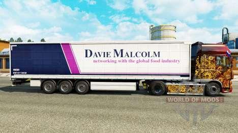 La piel de Davie Malcolm en una cortina semi-rem para Euro Truck Simulator 2