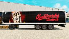 La piel de Budweiser en una cortina semi-remolqu