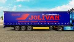 La piel Jolivan Transportes en una cortina semi-