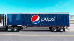 La piel de Pepsi en una cortina semi-remolque