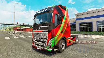 Rojo Efecto de la piel para camiones Volvo para Euro Truck Simulator 2