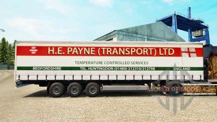 La piel H. E. Payne Transporte en semi-remolque de la cortina para Euro Truck Simulator 2