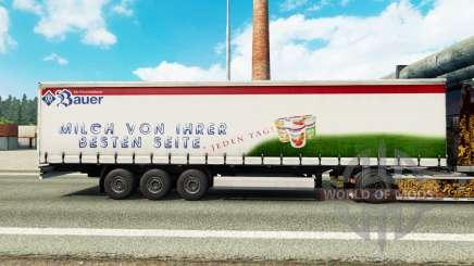 La piel Bauer en una cortina semi-remolque para Euro Truck Simulator 2