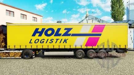 La piel Holz Logistik en una cortina semi-remolque para Euro Truck Simulator 2