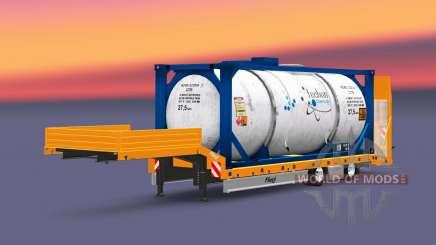 Fliegl baja de barrido con los bienes para Euro Truck Simulator 2