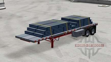Dos ejes con semi-remolque de la plataforma con la carga para American Truck Simulator