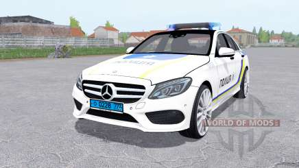 Mercedes-Benz C 250 AMG (W205) de la Policía para Farming Simulator 2017